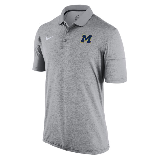 Nike University of Michigan Light Heather Gray Dri-FIT Touch Polo