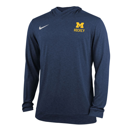 Nike University of Michigan Hockey Navy Stadium Dri-FIT Touch Hooded Tee