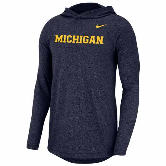 Nike University of Michigan Marled Heather Navy Long Sleeve Hooded Tee