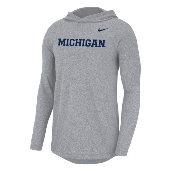 Nike University of Michigan Marled Wolf Gray Long Sleeve Hooded Tee