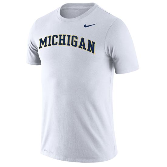 Nike University of Michigan White Basic Dri-FIT Legend Tee