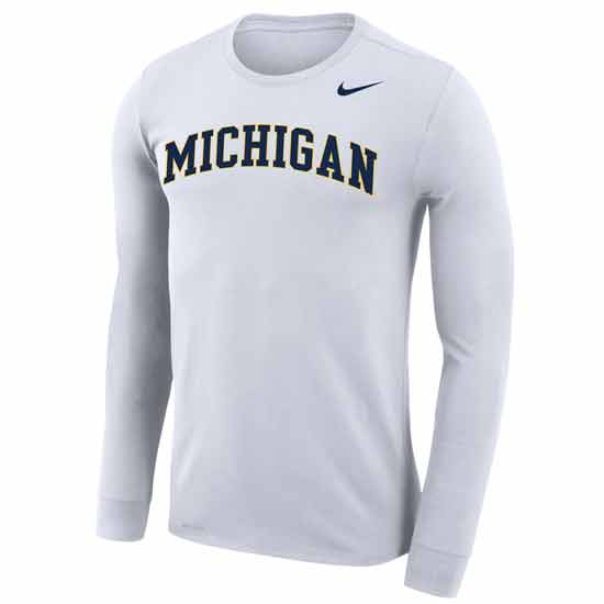 Nike University of Michigan White Long Sleeve Basic Dri-FIT Legend Tee