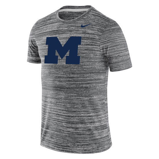 Nike University of Michigan Charcoal Heather Gray Dri-FIT Legend ''Velocity'' Tee