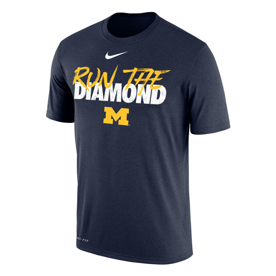 Nike University of Michigan Baseball ''Run The Diamond'' Navy Dri-FIT Legend Tee
