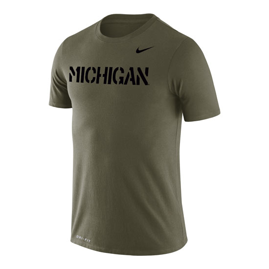 Nike University of Michigan Olive Drab Dri-FIT Legend Tee