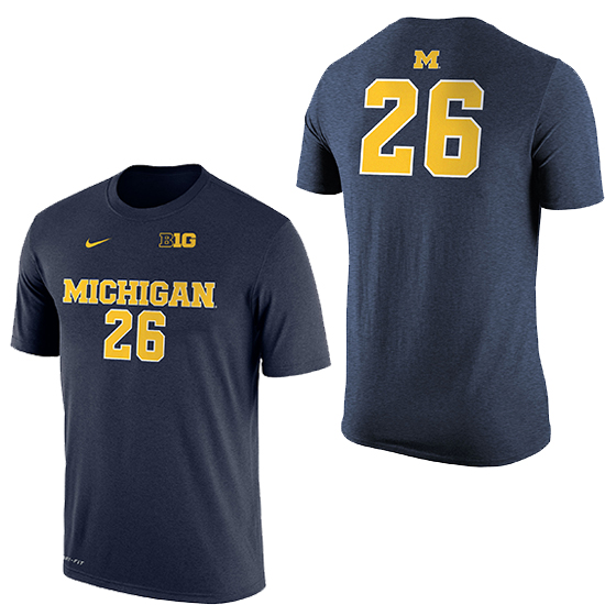 Nike University of Michigan Women's Soccer Navy Dri-FIT Cotton Jersey Tee