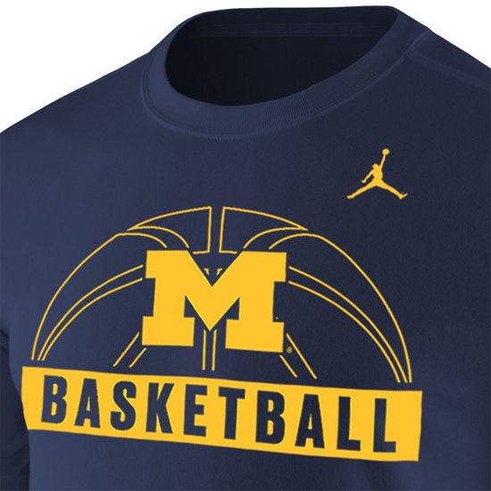 online store e31e2 f431e Jordan University of Michigan Basketball Navy Sport Tee