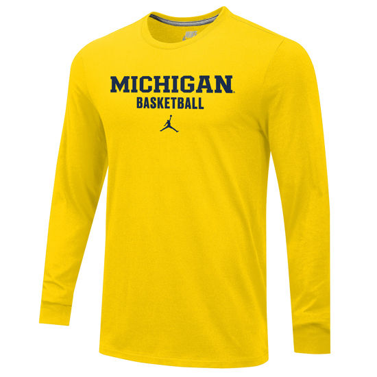 8f081aa4b768 Jordan University of Michigan Basketball Yellow Long Sleeve Tee. Product  Thumbnail Product Thumbnail