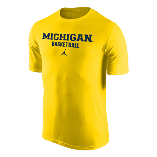 Jordan University of Michigan Basketball Yellow Dri-FIT Legend Tee