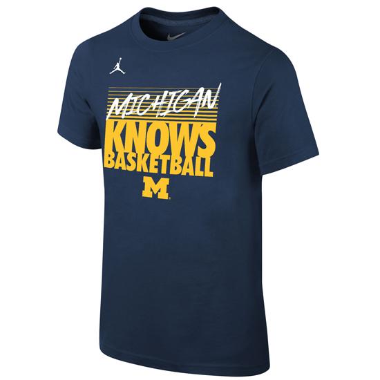 Jordan University of Michigan Basketball Navy ''Michigan Knows Basketball'' Dri-FIT Cotton Tee