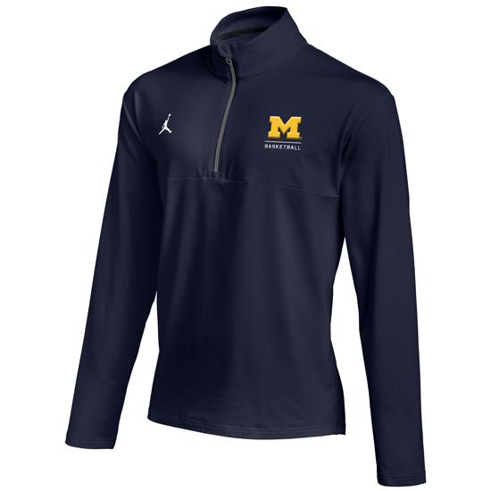 Jordan University of Michigan Basketball Navy Dri-FIT 1/2 Zip Pullover