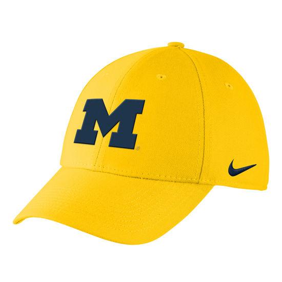 low priced 74b13 6f3b1 Nike University of Michigan Yellow Swoosh Flex Dri-FIT Hat. Product  Thumbnail Product Thumbnail Product Thumbnail