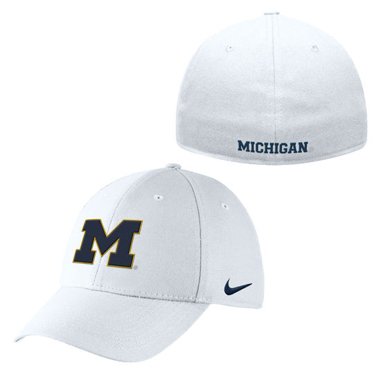 Nike University of Michigan White Swoosh Flex Dri-FIT Hat