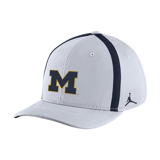 d523958a Jordan University of Michigan Football Youth White Aerobill Sideline  Coaches Dri-FIT Swoosh Flex Fit Hat