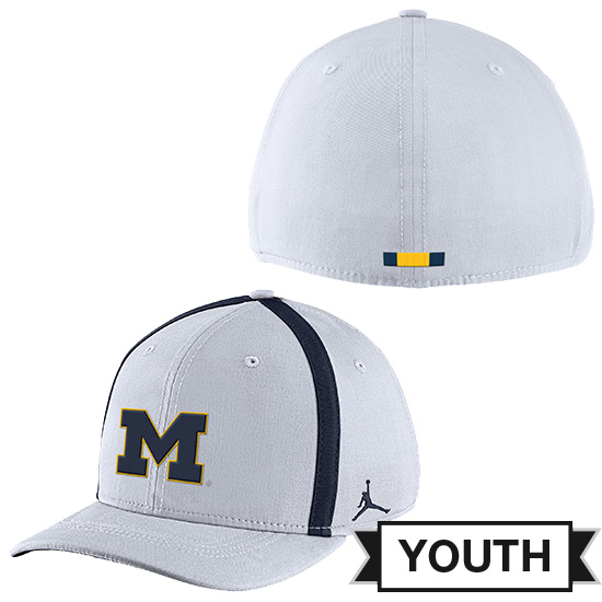 Jordan University of Michigan Football Youth White Aerobill Sideline Coaches Dri-FIT Swoosh Flex Fit Hat