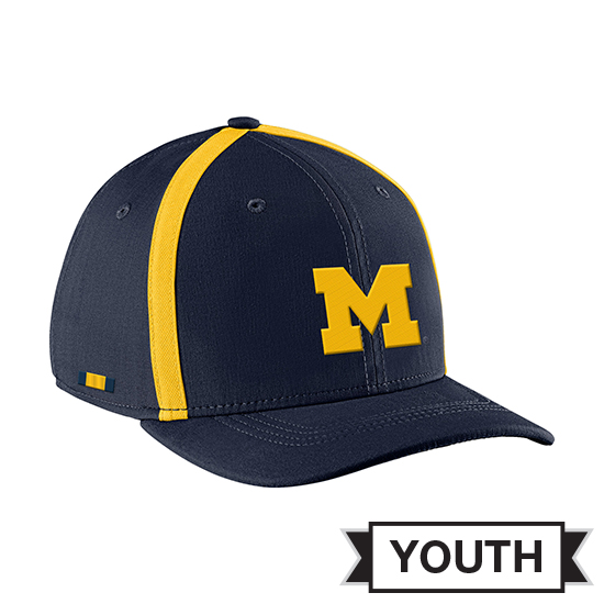 992b42400b7206 Jordan University of Michigan Football Youth Navy Aerobill Sideline Coaches  Dri-FIT Hat. Product Thumbnail