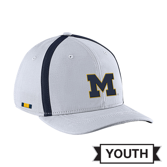 Jordan University of Michigan Football Youth White Aerobill Sideline Coaches Dri-FIT Hat