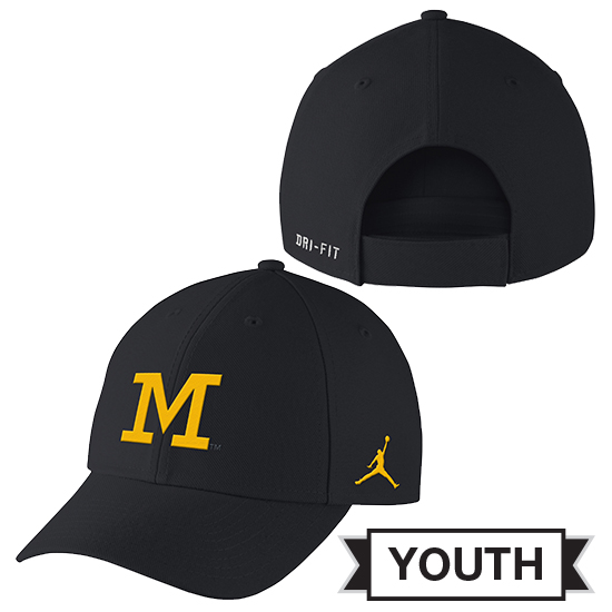 Jordan University of Michigan Football Youth Navy Head Coaches Dri-FIT Hat