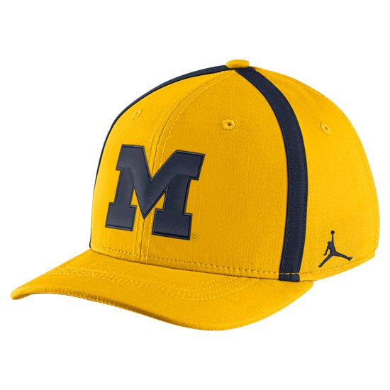 475298c8 Jordan University of Michigan Football Youth Maize Aerobill Sideline  Coaches Dri-FIT Swoosh Flex Fit Hat