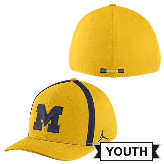 Jordan University of Michigan Football Youth Maize Aerobill Sideline Coaches Dri-FIT Swoosh Flex Fit Hat