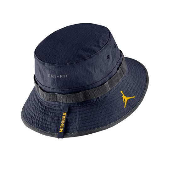 Jordan University of Michigan Football Youth Navy Sideline Bucket Hat cdb44c46bda