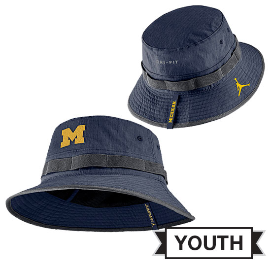 Jordan University of Michigan Football Youth Navy Sideline Bucket Hat.  Product Thumbnail Product Thumbnail Product Thumbnail adaa2e9afaad
