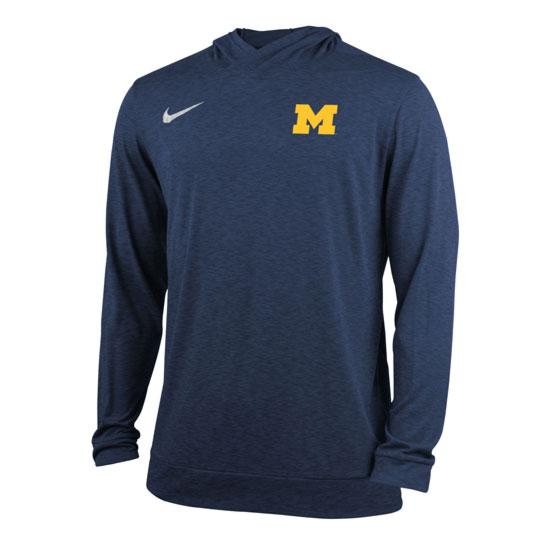 Nike University of Michigan Navy Stadium Dri-FIT Touch Hooded Tee