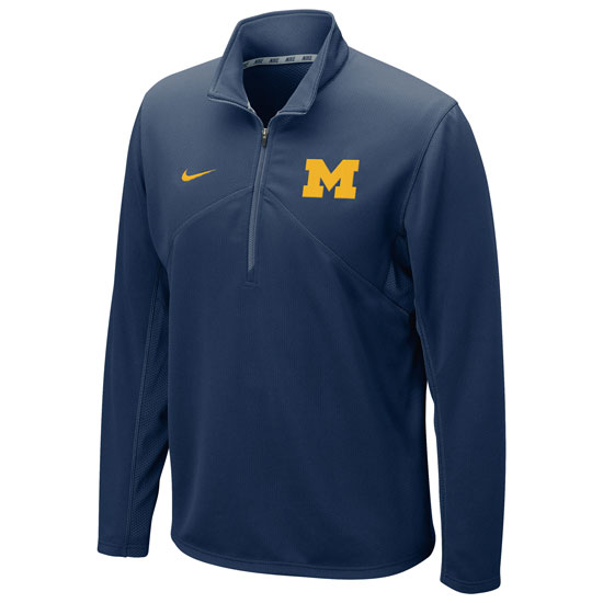 Nike University of Michigan Navy Dri-FIT Training 1/4 Zip Pullover
