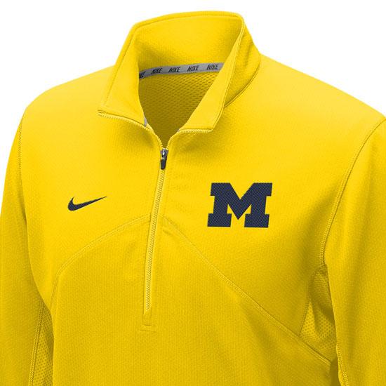 ad9d266a Nike University of Michigan Yellow Dri-FIT Training 1/4 Zip Pullover