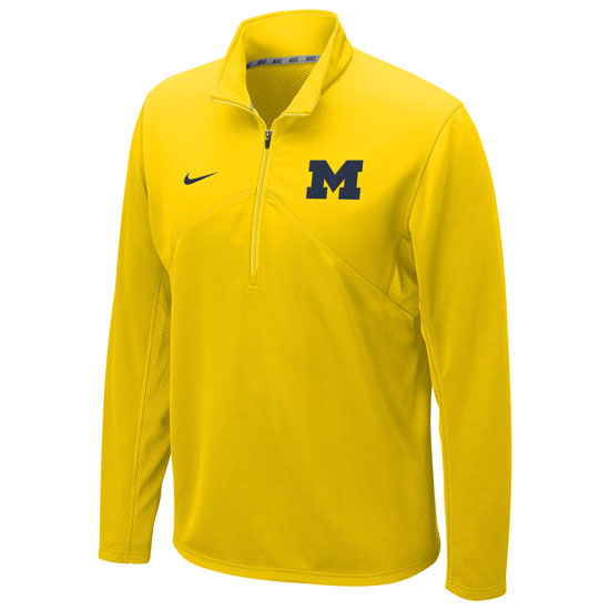 Nike University of Michigan Yellow Dri-FIT Training 1 4 Zip Pullover ede6617033b7