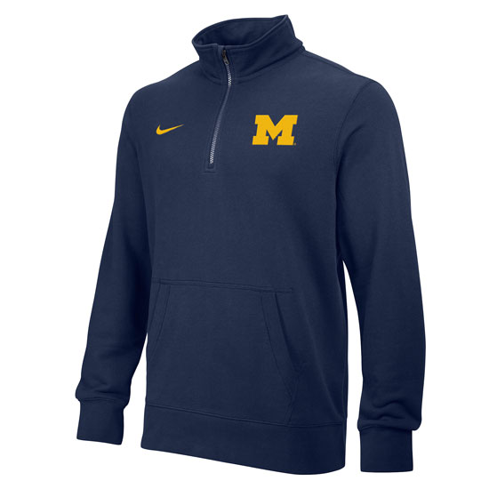 Nike University of Michigan Navy Stadium Club 1/4 Zip Fleece Pullover