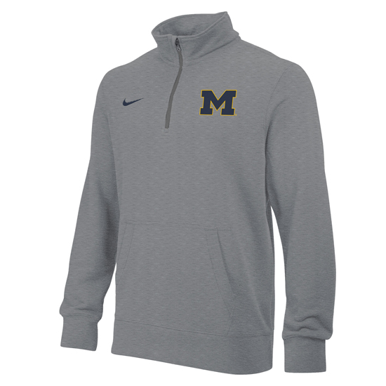 Nike University of Michigan Gray Stadium Club 1/4 Zip Fleece Pullover