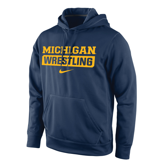 Nike University of Michigan Wrestling Navy Therma-FIT Hooded Sweatshirt