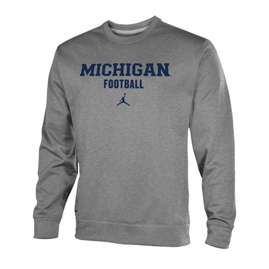 Jordan University Of Michigan Football Heather Gray Therma Fit