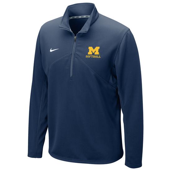 Nike University of Michigan Softball Navy Dri-FIT Training 1/4 Zip Pullover