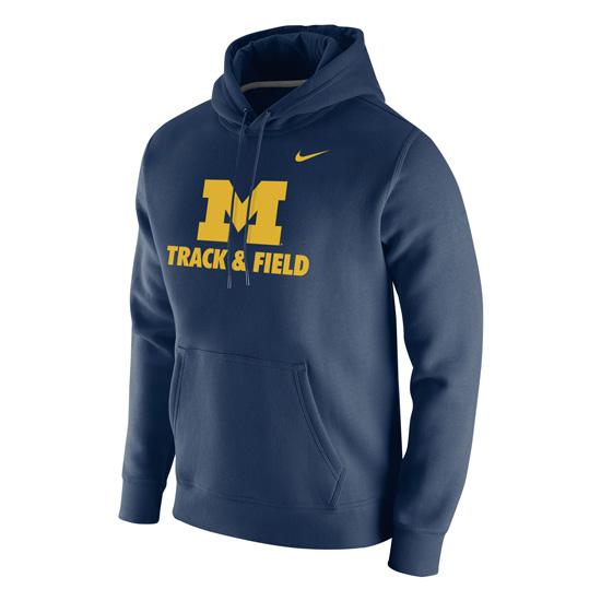 Nike University of Michigan Track & Field Navy Stadium Club Hooded Sweatshirt