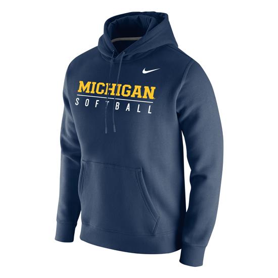 Nike University of Michigan Softball Navy Stadium Club Hooded Sweatshirt