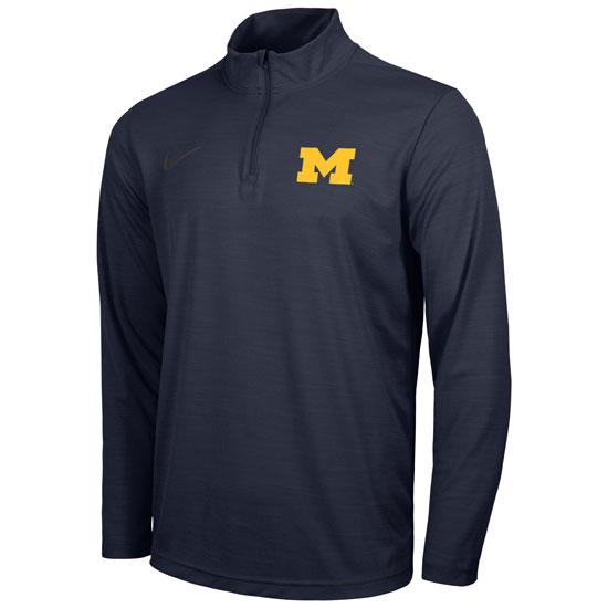 Nike University of Michigan Navy Dri-FIT Intensity 1/4 Zip Pullover
