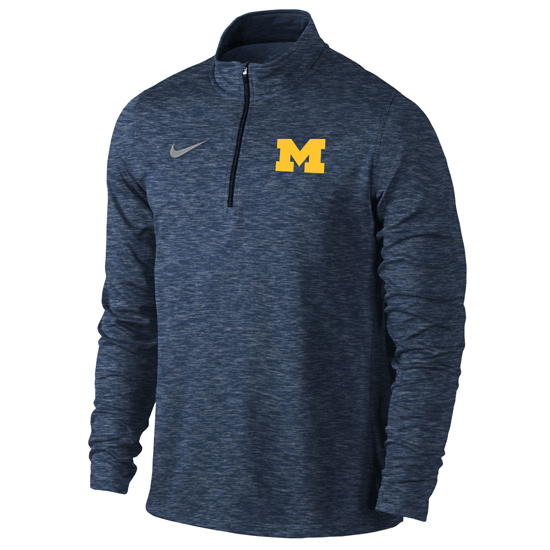 Nike University of Michigan Heather Navy Dri-FIT Element 1/4 Zip Pullover
