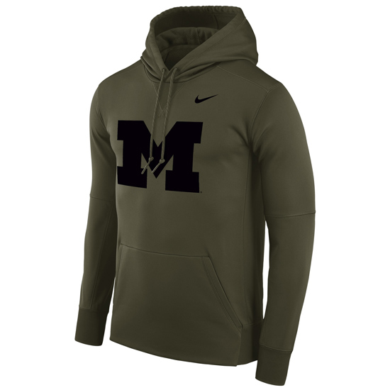 Nike University of Michigan Olive Block ''M'' Circuit Therma-FIT Performance Hooded Sweatshirt