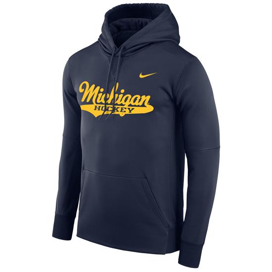 Nike University of Michigan Hockey Navy Script Therma-FIT Performance Hooded Sweatshirt