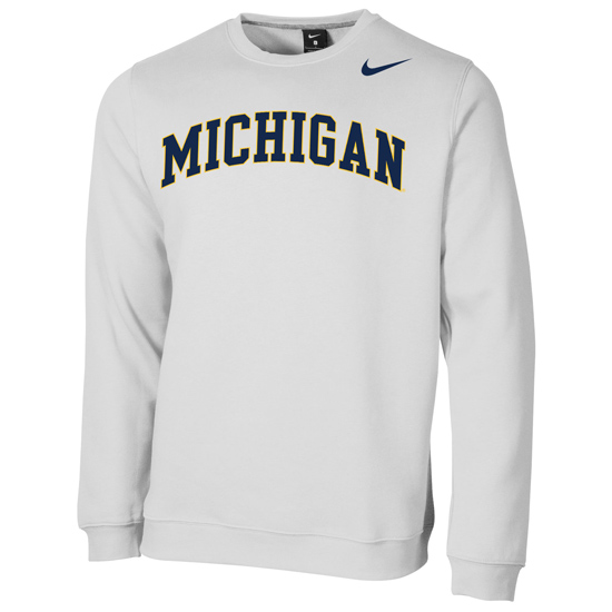 Nike University of Michigan White Stadium Club Basic Crewneck Sweatshirt