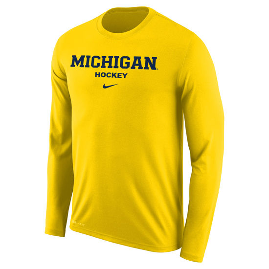 Nike University of Michigan Hockey Yellow Long Sleeve Dri-FIT Legend Tee