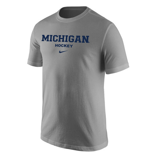 Nike University of Michigan Hockey Heather Gray Basic Tee