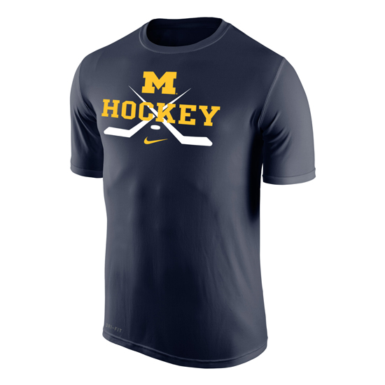 Nike University of Michigan Hockey Navy Crossed Sticks Dri-FIT Legend Tee