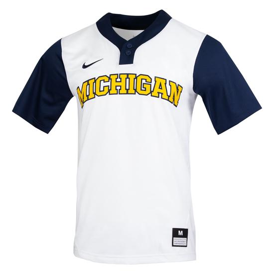 Nike University of Michigan Softball White/Navy Dri-FIT Replica Jersey