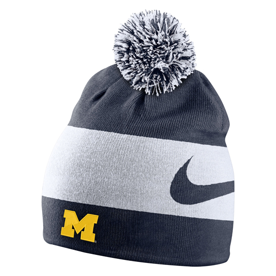 4c7099e7323 Nike University of Michigan Collegiate Striped Knit Beanie Hat. Product  Thumbnail