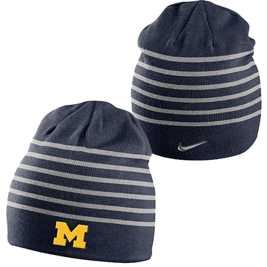 Nike University of Michigan Navy Multi-Stripe Knit Beanie Hat