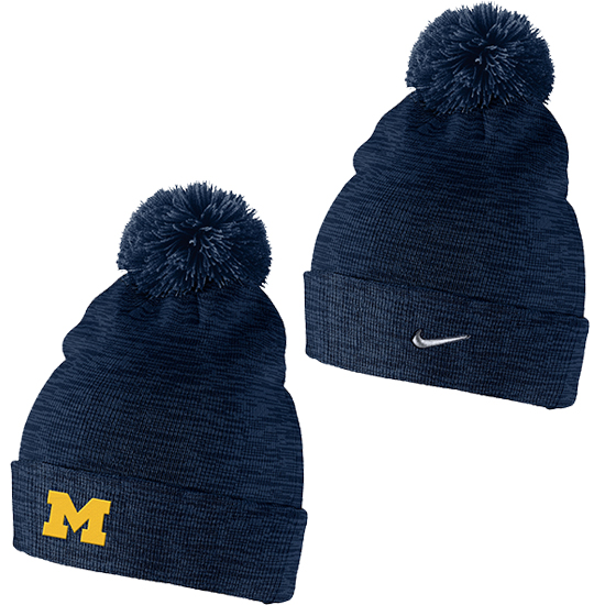 Nike University of Michigan Navy Swoosh Cuffed Pom Knit Hat
