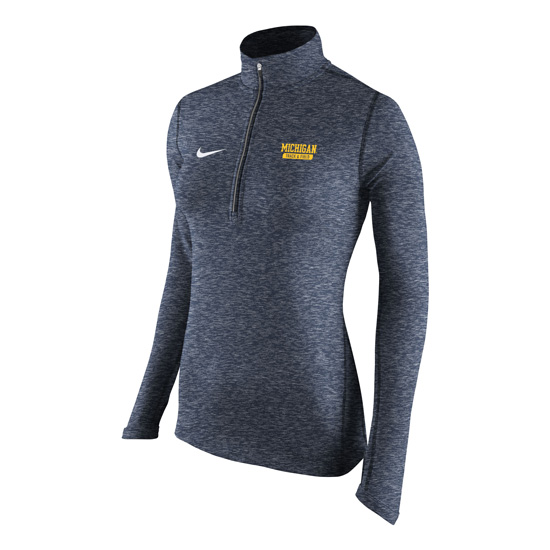 Nike University of Michigan Track & Field Women's Heather Navy Dri-FIT Element 1/2 Zip Pullover Top